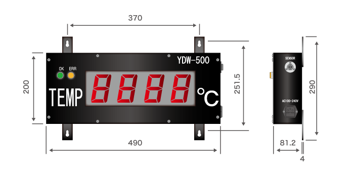 Large temperature display (YDW-500) size