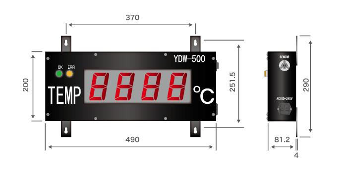 大型温度表示器(TDW-500)寸法